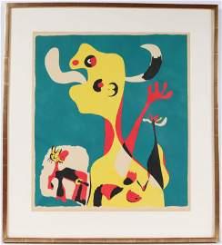 Joan Miro, Femme et Chien Devant la Lune
