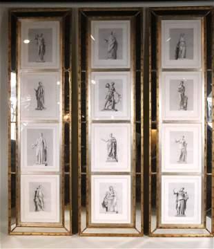 Twelve Neoclassical Style Prints, in Three Frames