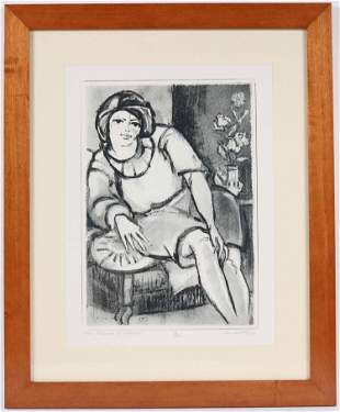"Remo Wolf, Etching & Aquatint, ""Figura in Riposo"""