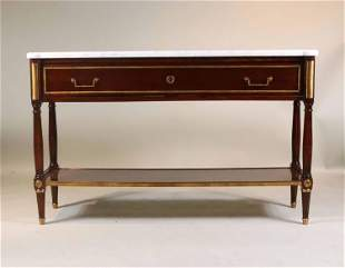 Louis XVI Style Marble Top Mahogany Serving Table