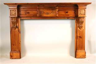 Neoclassical Style Carved Pine Mantel