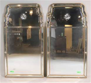 Pair of Queen Anne Style Etched Giltwood Mirrors