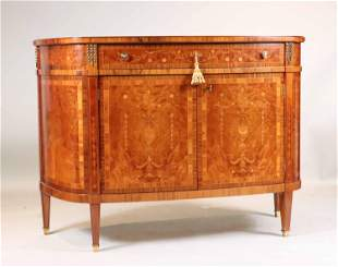 George III Style Inlaid Bowfront Cabinet