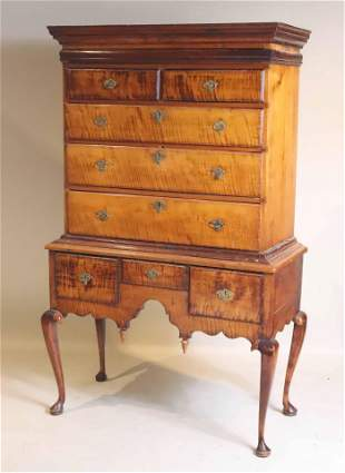 Queen Anne Tiger Maple New England Highboy