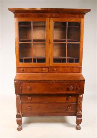 Classical Carved Mahogany Secretary Desk