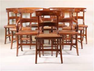 Ten Federal Mahogany Caned Seat Dining Chairs