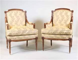 Pair of Neoclassical Style Beechwood Bergeres