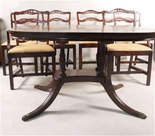 Mahogany Pedestal Dining Table and Six Chairs