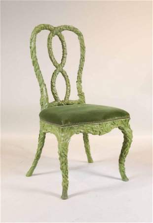 Queen Anne Style Carved Verdigris Chair