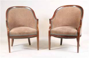 Two Regency Style Walnut Barrel Back Club Chairs