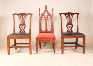Victorian Gothic Mahogany Hall Chair
