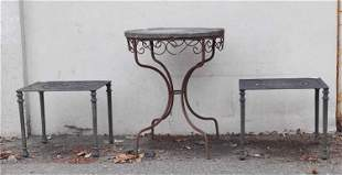 Pair of Cast Aluminum Side Tables