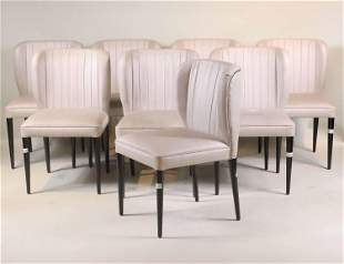 Eight Silver-Upholstered Ebonized Dining Chairs