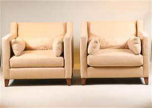 Pair of Beige Upholstered Club Chairs