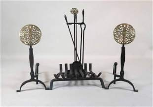 Pair of Modern Pierced Brass and Iron Andirons