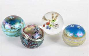 Four Art Glass Paperweights