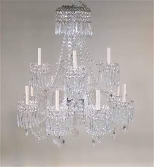 Louis XV Style Twelve Light Crystal Chandelier