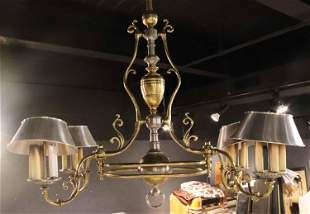 Brass and Pewter Four Light Billiard Lamp
