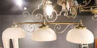 Brass and Pewter Three Light Billiard Lamp