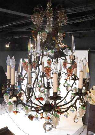Louis XV Style Glass Fruit Mounted Chandelier