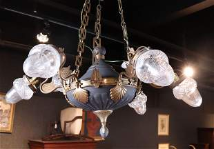 Charles X Style Tole & Brass Six-Light Chandelier