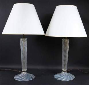 Pair of Colorless Glass Murano Table Lamps