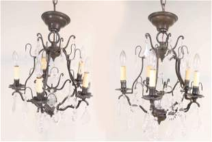 Pair of Louis XV Style Metal 5-Light Chandeliers