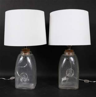 Pair of Colorless Glass Table Lamps