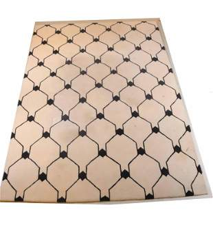 Beige and Brown Geometric Pattern Rug