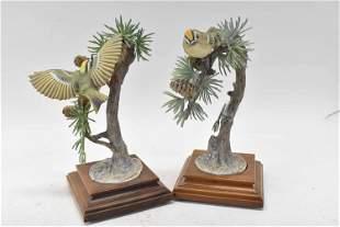 Pair Dorothy Doughty Porcelain Goldcrest Figures