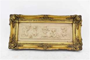 Emile Andre Boisseau Carved Marble Relief Panel