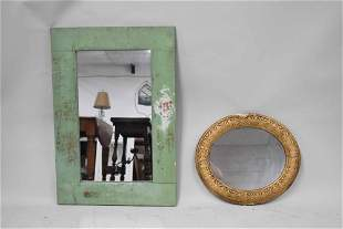 Vintage Green Painted Hanging Wall Mirror