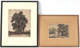 Two Luigi Lucioni Etchings, The Mill and Tree