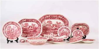 Group of Copeland Spode Tower Pink Transferware