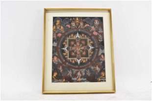 Tibetan Tangka Mandala Painting on Board