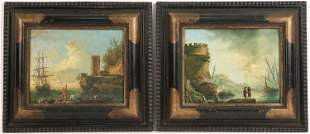 Two Oil on Panel Continental Seascapes with Forts