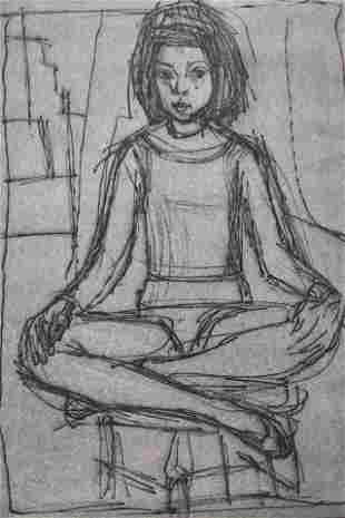 Irving Amen Etching of Seated Girl