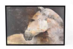 Albena Hristova Oil on Canvas of White Horse
