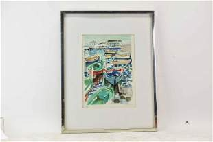 Harbor Scene Signed and Numbered Lithograph