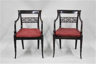 Pair of Regency Style Open Armchairs