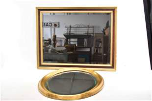Two Vintage Beveled Hanging Wall Mirrors