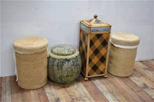 Pair of Woven Hampers with Lids