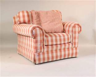Contemporary Pink Gingham Upholstered Club Chair