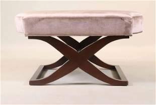 Modern Grey-Upholstered Mahogany Ottoman