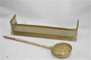 Antique Brass & Turned Wood Bed Warmer