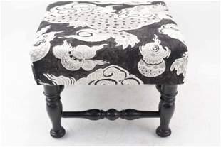 Black & White Upholstered Foo Dog Foot Stool