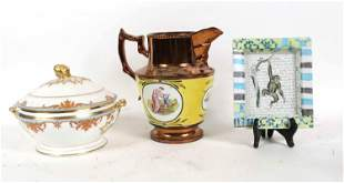 English Lusterware Pitcher with Painted Rondels