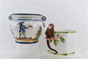 Gump's Italian Ceramic Planter Jardiniere