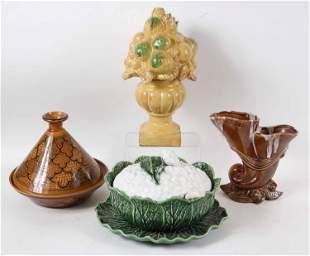 Four Glazed Ceramic Table Articles