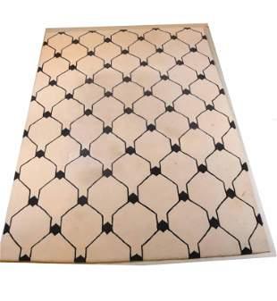 Beige and Brown Geometric Pattern Rug